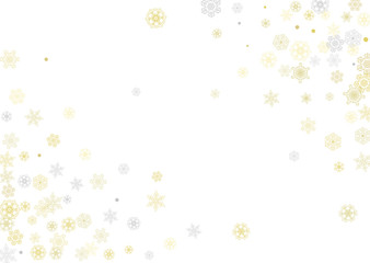 Gold snowflakes frame on white background. New year theme. Horizontal shiny Christmas frame for holiday banner, card, sale, special offer. Falling snow with gold snowflake and glitter for party invite