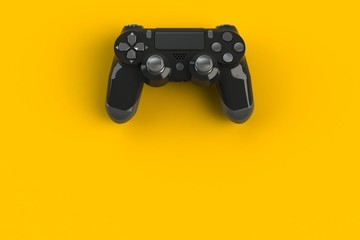 Computer game competition. Gaming concept. Black joystick isolated on yellow background, 3D rendering