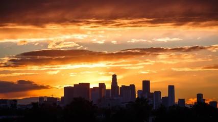 Fotobehang - Los Angeles sunrise. Downtown city skyline. Timelapse.