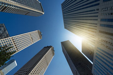 Fotomurales - low angle view of skyscrapers in city of China.