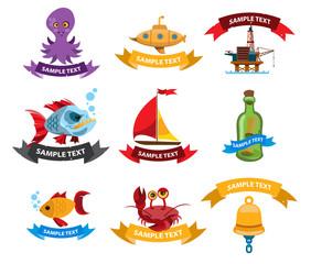 Sea and pirate logos