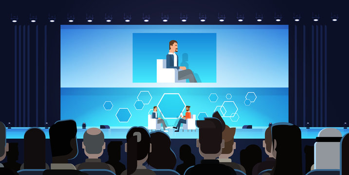 Business Man On Public Interview Conference Meeting In Front of Big Audience Flat Vector Illustration