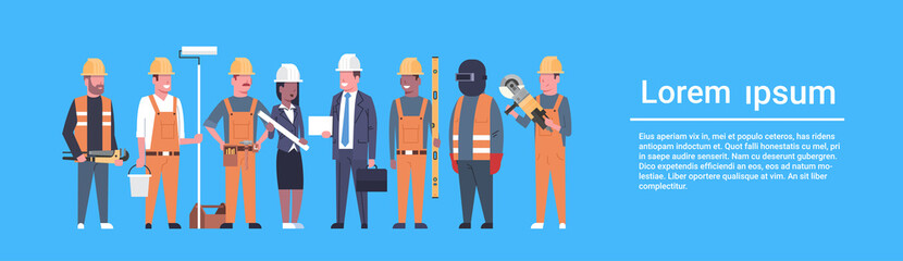 Costruction Workers Team Industrial Technicians Mix Race Man And Woman Builders Group Horizontal Banner Flat Vector Illustration