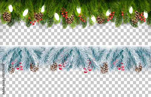 Two christmas holiday boards with branches of tree and pine and