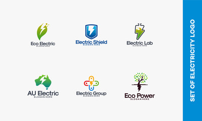 Collection of Electricity logo designs concept, Thunder logo designs template