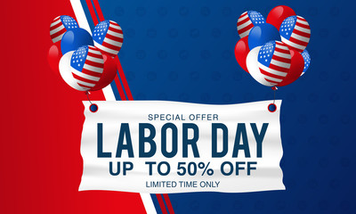 Labor Day Super Sale special offer poster, banner background