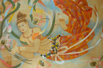 Buddhist temple ceiling painting
