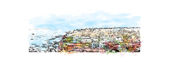 Sea beach, Bali, Indonesia. Watercolor splash with hand drawn sketch in vector illustration.