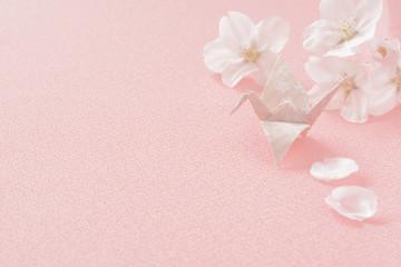 桜の花 折り鶴