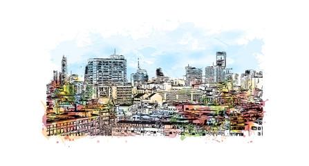 Bangkok City skyline Thailand. Watercolor splash with hand drawn sketch in vector illustration.