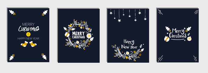 Christmas and New Year's Template Card Set Bundle, Dark Blue Navy Background Vector