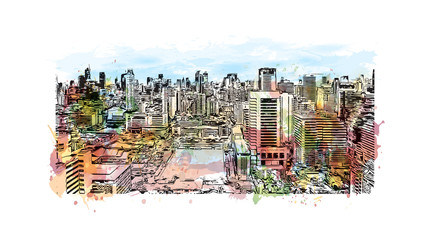 Bangkok City skyline Thailand. Watercolor splash with hand drawn sketch in vector illustration.