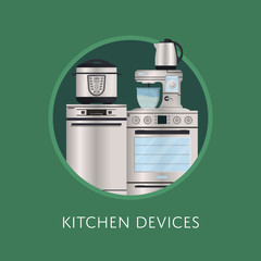 Modern kitchen electronic devices poster