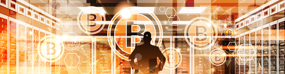 Silhouette Business Man Point Finger To Bitcoin Crypto Currency Concept Digital Web Money Technology Vector Illustration