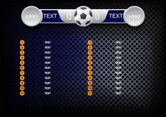 Scoreboard soccer design, Sport button element, Banners for football game, Vector