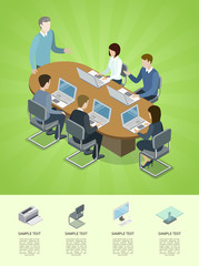 Business conference isometric 3D infographics