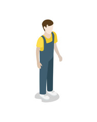 Factory worker in uniform isometric 3D icon