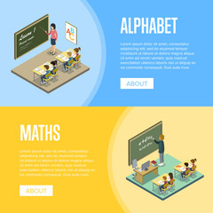 Alphabet and maths lessons at school