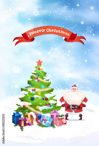 Santa near christmas tree with merry christmas banner holiday santa near christmas tree with merry christmas banner holiday greeting card flat vector illustration m4hsunfo