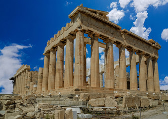 Wall Mural - parthenon ancient greek temple in greek capital Athens Greece clouds sky