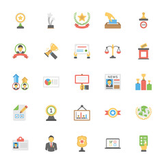 Flat Vector Icons Pack of Vote and Rewards