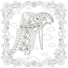 Monochrome zentangle style camel head in flowers frame, coloring page antistress stock vector illustration, for print