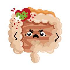 Sad sick intestine cartoon character