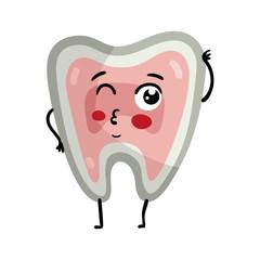 Human tooth cute cartoon character