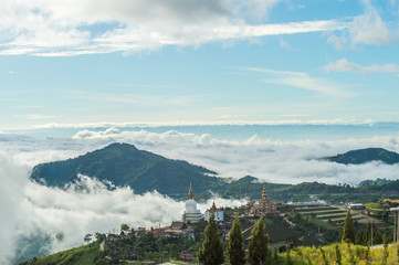 Phetchabun Province, Thailand - September 3, 2017: Top view to see mountain and Wat Pha Sorn Kaew Temple or Wat Phra Thart Pha Kaew Temple in Khao Kho, Thailand. view of mountain, blue sky and cloudy.