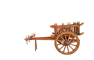 Wooden Bullock Cart on White Background, Clipping Path
