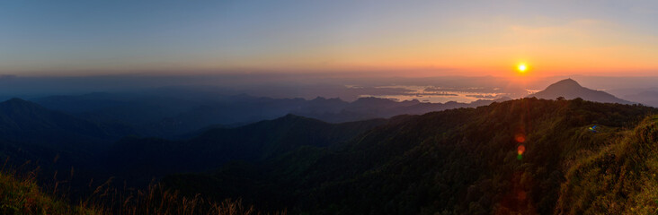 Panorama view of high mountain in sunset time