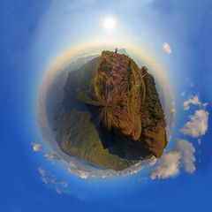 360 Panorama of high mountain in sunset time