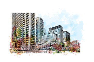 Tokyo City, Japan. Watercolor splash with hand drawn sketch in vector illustration.