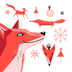 Set of graphics of a red fox