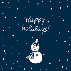 Christmas Greeting Card with hand drawn cute snowman. Happy holidays. Dark blue background. Happy New Year. Vector.