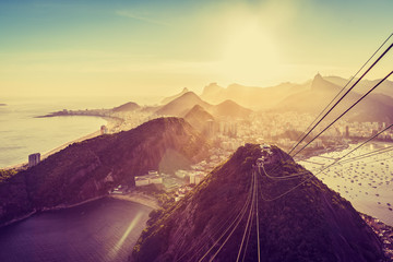 Rio de Janeiro and Copacabana Beach, late afternoon light, Brazil. View from Sugar Loaf mountain