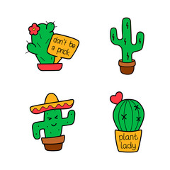 Cactus cartoon set. Vector isolated funny cute character collection. Color Sticker, patch badge, pin, brooch. Trendy modern fashion creative design. Hand drawn  illustration, card, textile t-shirt