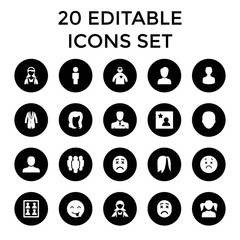 Avatar icons. set of 20 editable filled avatar icons