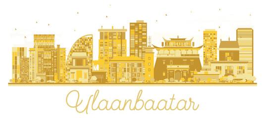 Ulaanbaatar Mongolia City skyline golden silhouette.
