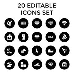 Stone icons. set of 20 editable filled stone icons
