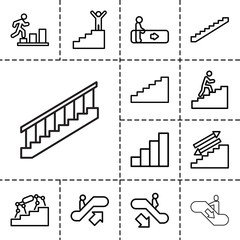 Stair icons. set of 13 editable outline stair icons