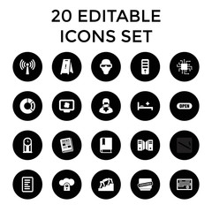 Information icons. set of 20 editable filled information icons
