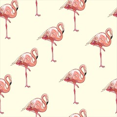 Canvas Prints Beautiful seamless vector tropical pattern background with flamingo and hibiscus. Abstract texture, stripes. Perfect for wallpapers, web page backgrounds, surface textures, textile.