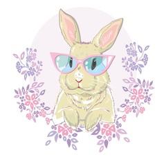 Hand drawn fashion portrait of bunny