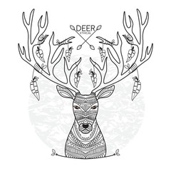 Postcard with the head of a deer. The feathers are attached by a rope to the horns. Vector illustration. Design greeting cards, greetings, invitations, t-shirt design