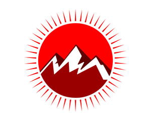 red mountain ridge top peak hill image icon logo