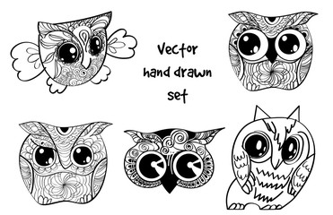 tattoo henna owl set
