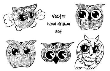 tattoo henna owl set