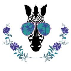 Cool Zebra in Sun Glasses Vector Illustration