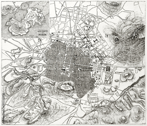 Topographic Map Of Ancient Greece.Ancient Sepia Tone Topographic Map Of Athens With Piraeus Insert Map